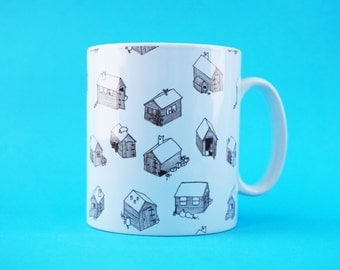 Cats On Sheds Cute Cat Patterned Mug