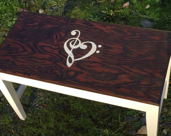 Hand-finished piano bench with treble/bass heart