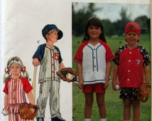 Simplicity 8067, Unisex Children's Baseball Uniform Sewing Pattern, Size 5, 6, 7, 8, Pull On Pants and Shorts Baseball Hat, Button Front Top
