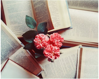 Romantic Fine Art Photography Roses and Books Still life Fine print Poetry photography Pink Coral Roses Girly Sunlight Dreamy wall Art decor