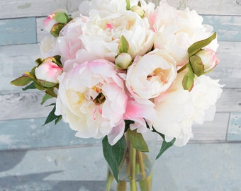 Silk Blush Pink Cream Peonies Arrangement Centerpiece - Large Flowers Peonies Faux Home Decor Artificial Roses - Acrylic Water