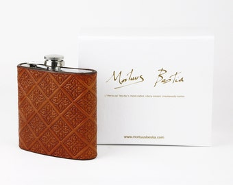 Leather Hip Flask Embossed Gothic Style - 6oz Hand crafted