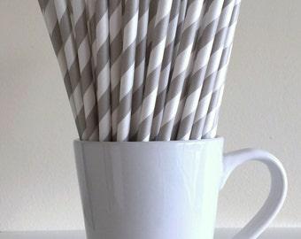 Gray Paper Straws Grey Striped Party Supplies Party Decor Bar Cart Cake Pop Sticks Mason Jar Straws Graduation