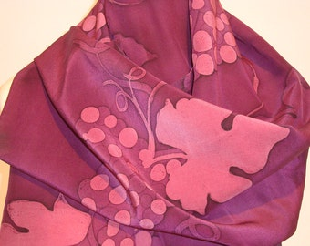 Crepe de chine 100% Silk Scarf, 180cm x 45cm,hand painted