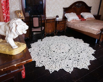 """Big crochet rug, round area rug (79 in), doily rug, yarn lace mat, Classic Chic, Baroque, decor by LaceMats """"StarLace"""""""