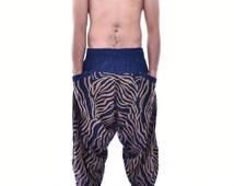 Zebra Painting Blue&White Samurai Pants, Trouser, Baggy pants, Yoga 100% Cotton(Unisex) One Size Fit All