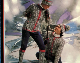 1970's Ski Sweaters Socks & Hats Knitting Booklet Brunswick 7524