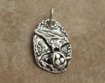 Sterling Silver Bird's Nest Pendant – Sterling Silver Pendant – Silver Bird's Nest Charm – Sterling Silver Bird Pendant – Silver Bird Charm