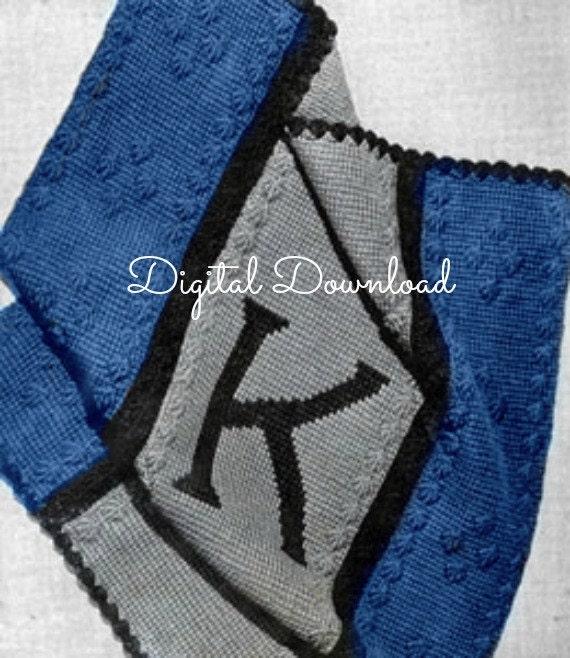 Crochet Monogram Personalized Baby Blanket Afghan Pattern Digital Download