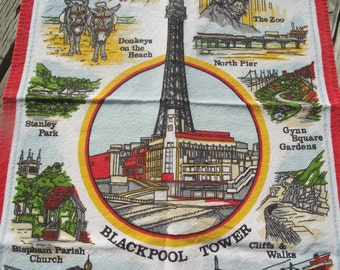 BLACKPOOL Souvenir TEA TOWEL,Souvenir of England,Linen Tea Towel,Dish Towel,Vintage Linen,Vintage Kitchen,Kitschy Kitchen,Gift for Woman