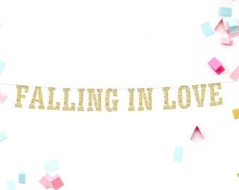 Falling in Love Glitter Banner, Wedding Decor, Fall Wedding, Wedding Reception, Photo Prop, Bridal Shower, Baby Shower, Engagement Party
