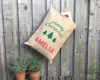 """Personalized Christmas Stocking - """"Merry Christmas"""" Christmas Sack Tree Design - Christmas Stocking Christmas Bag"""