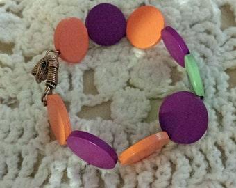 Orange and Plum Wooden Disk Bracelet (E 463)