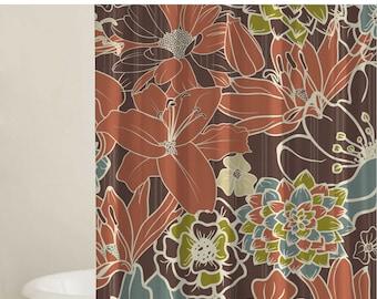 Flower Shower Curtain Set, Custom Shower Curtains, Bathroom Shower Curtains, Gift Ideas, Extra Long Curtains, Bathroom Decor