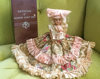 """Vintage 40s Duchess Doll 7"""" Storybook Doll Full Ruffle Southern Style Ball Gown Pink Floral Satin Sleepy Eye Dolls 1940's Marked Vanity Girl"""