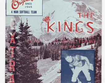 1961 The King and His Court The Original 4 Man Softball Team Vintage Baseball Magazine Souvenir