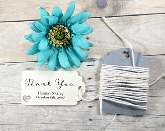 Wedding Favor Tags Set of 20 - Personalized Bridal Shower Gift Tag - Small Ivory Wedding Tag - Cream Wedding Favors - Small Thank You Tags