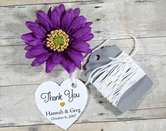 Personalized Wedding Tags Set of 20 - White Heart Tag - Bridal Shower Tags - Wedding Favor Tags - Custom White Wedding Tag Heart Shape