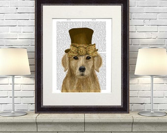 Golden Retriever Print - Hat and Bow -  Golden Retriever art print Golden Retriever poster Golden Retriever gift for Golden Retriever lover