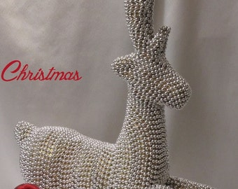 Silver Beaded Reindeer -  Christmas Centerpiece - Christmas Decoration -