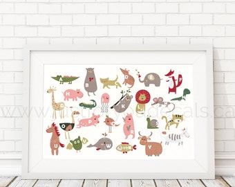 Animal Alphabet Poster - Nursery Wall Art, Playroom Poster, Alphabet Wall Art, Alphabet Nursery Art, Alphabet Nursery, Nursery Art - 22-0021