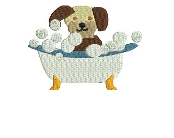 Dog named Spot's first  Bath Time  embroidery design