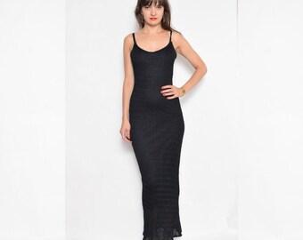 Vintage 90's Black Maxi Dress / Sleeveless Knit Maxi Dress - Size Small