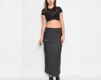 Vintage 90's Grey Maxi Long Skirt