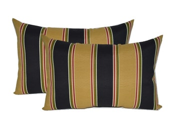 Set of 2 In / Outdoor Over-sized Rectangle / Lumbar Chaise Lounge Decorative Pillows - Black, Tan, Red, Green Wide Stripe