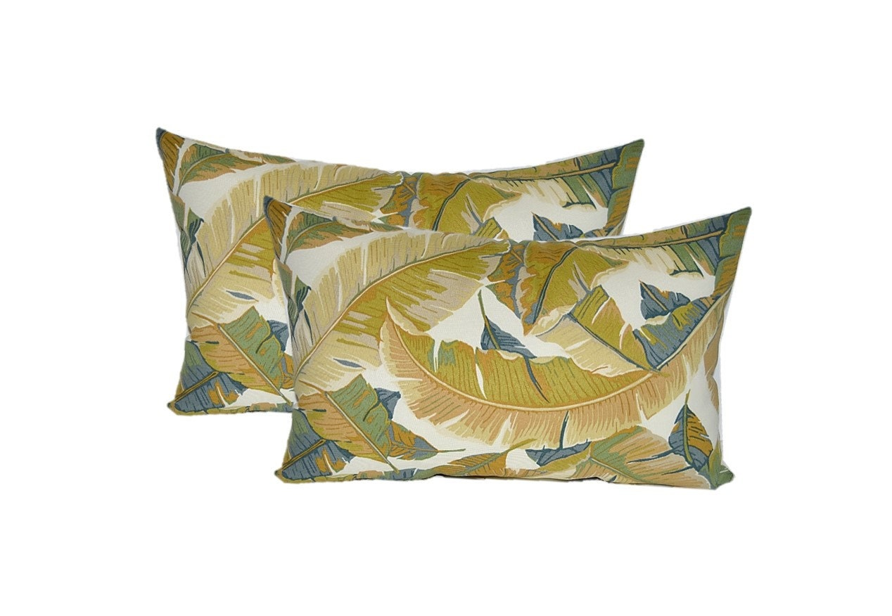 Decorative Outdoor Lumbar Pillows : Set of 2 Indoor / Outdoor Lumbar / Rectangle Decorative