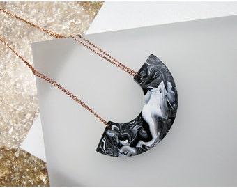 Hand Marbled Resin Crescent Necklace. Black and White Marble, Copper Chain. Swirl Ombre Handmade Unique. Semi Circle Bib Collar