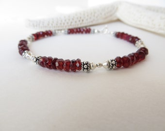 Garnet Bracelet, Friendship Bracelet, January Birthstone Bracelet, Faceted Semiprecious Gemstone Bracelet, Deep Red Sterling Silver Bracelet