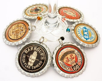 Wine charms vintage thread label gift for seamstress quilter sewing gift drink tags spool of thread.