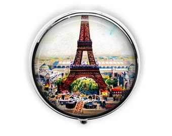 Eiffel Tower pill box vintage Eiffel Tower pill case Paris travel gift vitamin storage mint case jewelry storage.