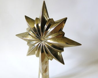 Vintage Star Christmas Tree Topper, Possibly Silverplate, Retro Christmas Tree Topper, Metal