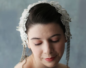 Sale ivory Snow Queen Diamante Bridal Cap Wedding Headpiece in Lace with Rhinestone Crystal Accents