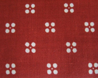 3 2/3 Yds cotton upholstery fabric in burnt orange with white dots