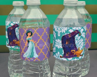 Princess Jasmine Gold Glitter Birthday Party Water Bottle Labels, Instant download