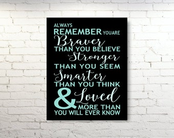 STRETCHED CANVAS ART, Always Remember You Are Braver Than You Believe Quote, Inspirational Gallery Canvas Print, Typography, Winnie the Pooh