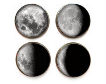 Galaxy Science Lover Moon Phases Magnet Set of 4 Stocking Stuffers Phases of the Moon Decor, Cute Fridge Magnets, Funny Refrigerator Magnets