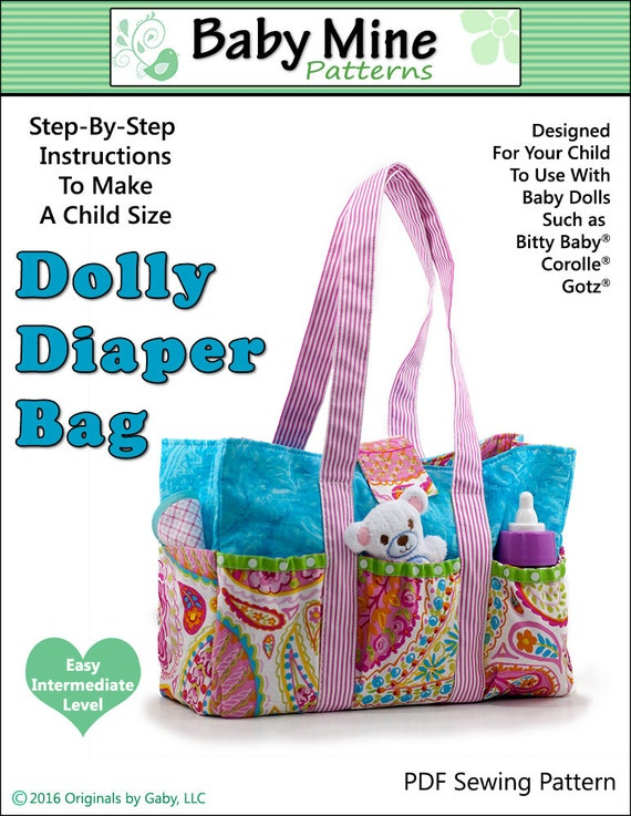 pixie faire baby mine dolly diaper bag doll clothes pattern. Black Bedroom Furniture Sets. Home Design Ideas