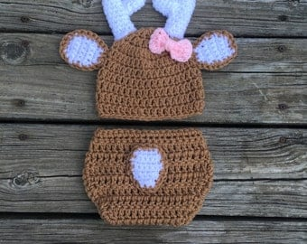 Newborn Girl Deer Hat Diaper Cover Baby Deer Outfit Crochet Deer Set Baby Shower Gift Newborn Photo Prop White Tail Deer Baby Shower Gift