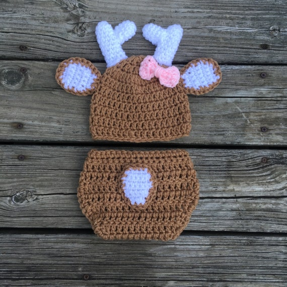 Free Crochet Deer Diaper Cover Pattern : Newborn Girl Deer Hat Diaper Cover Baby Deer Outfit Crochet