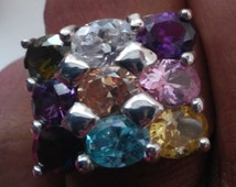 Sterling Silver 925 Multi Colored Gem Stone Ring