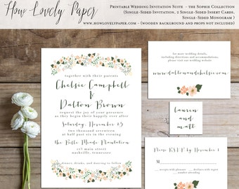 Printable Wedding Invitation Suite - the Sophie Collection