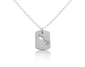 Script Word LOVE with Heart Romantic Dog Tag Charm Pendant Necklace #925 Sterling Silver #Azaggi N0699S