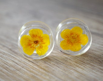 "13/16"" 20mm yellow flower plugs real floral ear plug real flower plugs Unique tunnels Unusual Ear stretcher resin plug Pressed Flower gauge"