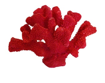 Large Faux Red Sea Coral Reef Nautical Coastal Beach House Decor Poly Resin Accent Figurines Display Home Accessories