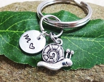 SNAIL KEYCHAIN with initial charm - snail zipper pull - Please see all photos to order - One flat rate shipping in my shop :)