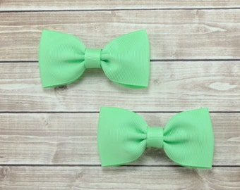 Mint Pigtail Hair Bows, Mint Pigtail Bows, Solid Mint Hair Bows, Girl Pigtail Bows, Mint Hair Clips, Mint Bow Clips, Mint Clips, Mint Bows